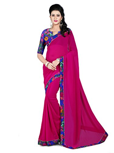 Saree (Vastrang Sarees Women's Rani Color Georgette Designer Plain Printed Saree with Reco Georgette Digital Print Blouse along with Banarshi Digital Print Silk Border_VS11001151_Free Size)  available at amazon for Rs.549