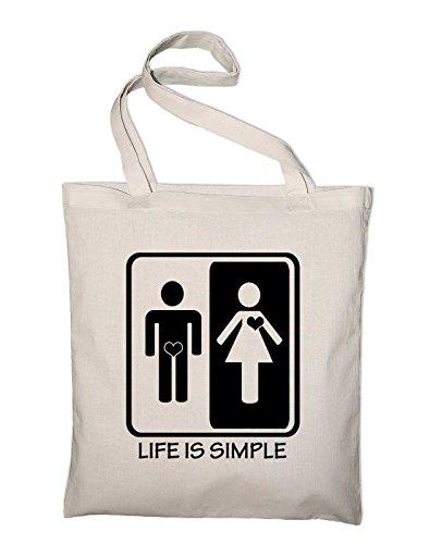 Life is simple Männer Frauen Jutebeutel, Beutel, Stoffbeutel, Baumwolltasche, gelb Natur