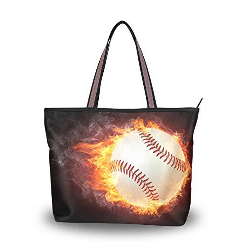 WowPrint Damen Handtasche mit Baseball-Muster, groß, für Schule, Arbeit, Reisen, Einkaufen, Strand