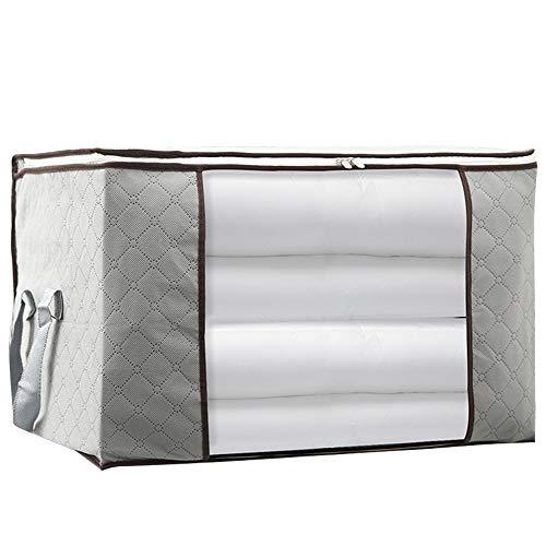 Yiqiane Aufbewahrungsbeutel Große Faltbare Aufbewahrungsbeutel Kleidung Bettwäsche Bettdecke mit Reißverschluss Kissen Vlies Aufbewahrungstasche Box mit transparentem Fenster (grau) für Zuhause -