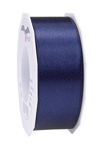Prasent 40 mm x 25 m, Satin-Band-Rolle, doppelseitig, dunkel blau - 40 X 25 Satin
