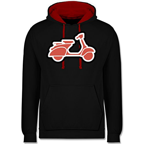 Motorräder - Roller Moped - Kontrast Hoodie Schwarz/Rot