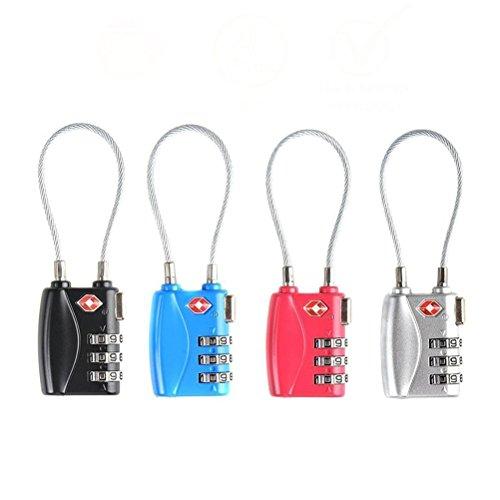 VORCOOL Gepäckschlösser Kombination Passwortschlösser Vorhängeschlösser TSA genehmigt 3-stellig 4-Pack (vierfarbig) -