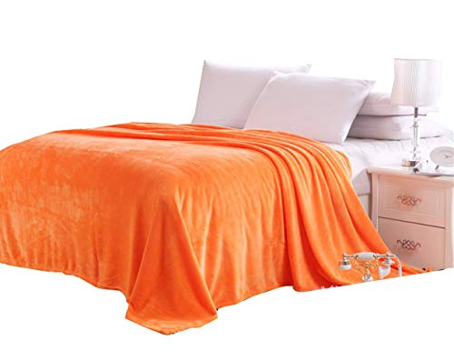 Nattey Massives Flanell Plüsch Überwurf Decken, Bett-Decke Twin Full Queen Size, Orange, Twin -