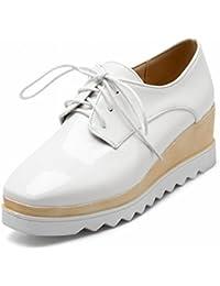 Cabeza Cuadrada de Boca Baja con Las Botas de Mujer de la Moda Del Color de la Lucha Zapatos , blanco , EUR34