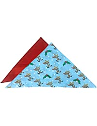 2 Pack Mens Soft 100% Cotton Novelty Pattern Christmas Handkerchiefs Hankies for Xmas Gifts