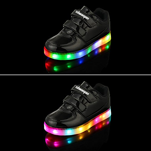 Shinmax Golden Kindheit-Serie LED Schuhe Multi Color USB-Lade Kid Leuchtschuhe Kinderschuhe für Jungen und Mädchen mit CE-Zertifikat Black