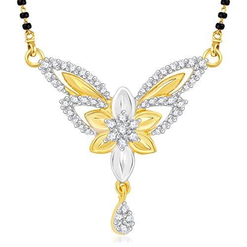 Vk Jewels Flower Petals Gold Brass Alloy Cz American Diamond Mangalsutra for Women Vkmp1425G