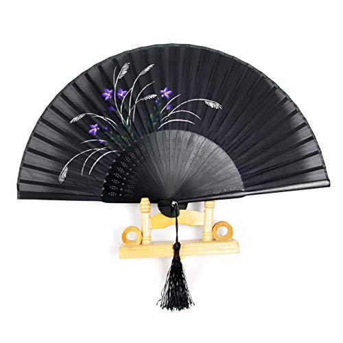 Orchid Kostüm Black - XIAOHAIZI Handklappventilator,Vintage Chinese Classical Summer Folding Fan Orchid Black Hollow Ladies Gift Dance Fan