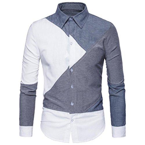 WOCACHI Herren Langarmshirts Mode Männer Langarm Hemd weiß und grau Patchwork Slim Fit Casual Business Shirt Tops Bluse (Asian:S, Grau)