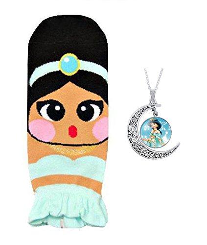 Socks + Pendant Necklace Frozen Anna Elsa Mermaid Ariel Jasmine Snow White-Jasmine (Snow Gothic White)