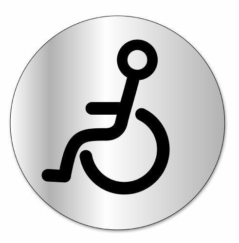 "Symbol DS304 Indicator disc ""Behinderten-WC"" - Selbsthaftendes Aluminium - Durchmesser 80 mm"