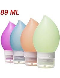 Botellas de viaje, recipientes de viaje recargables de silicona a prueba de fugas, conjuntos de tubos de viaje exprimibles Envases de baño cosméticos para jabón de loción de champú