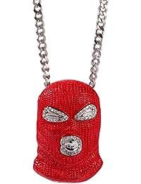 bda27f335a6a MKHDD Cadena de Hip Hop Contador Rojo Terrorismo Sombrero Máscara Collar  Cubic Zirconia Curb Cuban Link Colgante para Hombre…