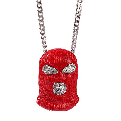 Hip Hop Kette Rot Counter Terrorismus Kopfbedeckungen Maske Halskette Zirkonia Curb Cuban Link Anhänger für Männer Schmuck ()