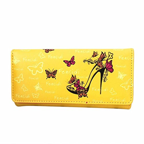 kingkor-women-wallet-butterfly-high-heels-pattern-lady-coin-purse-long-wallet-handbag-yellow