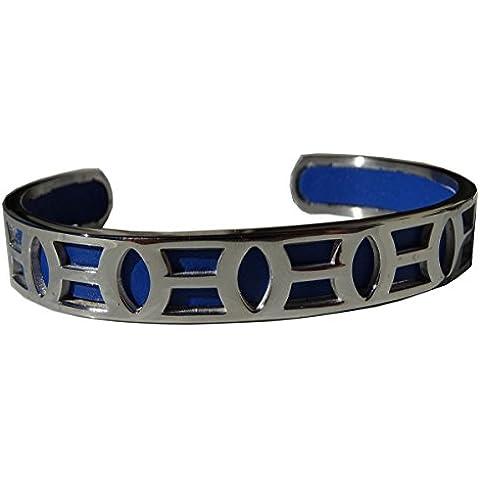 Braccialetto cuff acciaio lucido e pelle blu. Bellissimo rilievo e elevata qualità.