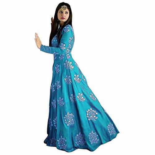 Prem Creation Women's Chiffon Silk Dress Material (PC 203 Sky 5_Free Size_Sky)