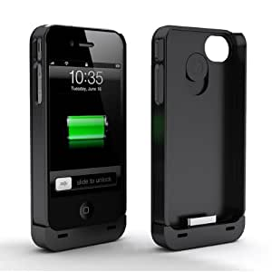 Maxboost Hybrid Detachable Battery Case for iPhone 4S & iPhone 4 - Black/Black (1900 mAh Fits All Versions of iPhone 4 & 4S)