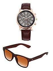 Big Tree Chronograph Look Analogue Black Dial Brown Leather Belt Mens Watch & BIG Tree Cinnamon Brown Color UV Protected Wayfarer Sunglasses Goggles Combo Set