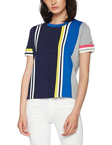 Tommy Hilfiger Damen GELLA STP SWTR SS T-Shirt, Blau (Peacoat/Multi 901), 10 (Herstellergröße: Medium) - Multi-ss T-shirt Top