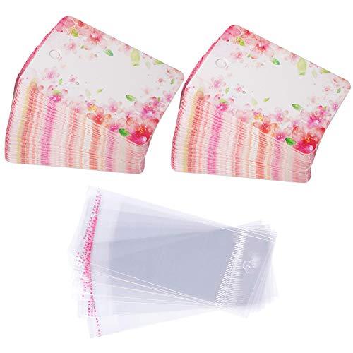 Geschenkanhänger aus Papier Ohrring Karten Set, 100 Stück Papier-Ohrring-Display-Karten mit 100 Stück Self-Seal Taschen,Kartenhalter Organizer DIY handgemachte Verpackung Karten (Pink Flower) -