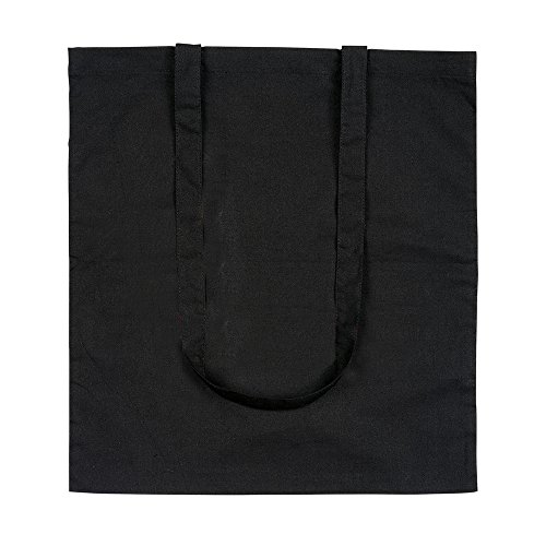 eBuyGB confezione da dieci 100% 4oz cotone Shopping Tote borse a tracolla (marrone) Nero