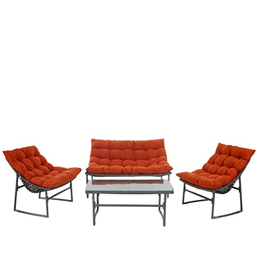 Mendler 2-1-1 Poly-Rattan Garten-Garnitur Tunis, Sitzgruppe Lounge-Set Alu ~ anthrazit, Kissen terrakotta