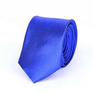 "Y-BOA - Cravate Unie - Homme Modern- Polyester -Slim/Fine- Solide - 2""*56""- Réglable- Costume Mariage Affaires (#6 Bleue)"