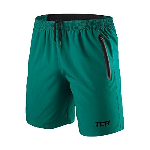TCA Elite Tech Herren Trainingsshorts für Laufsport mit Reißverschlusstaschen - Smaragdgrün - XXL