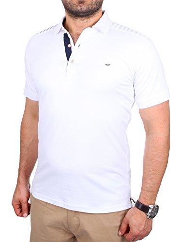 Reslad Poloshirt Herren Slim Fit Polo-Hemd Polo-Kragen Kurzarm-Shirt RS-5200 Weiß