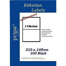 500 Blatt A4 pro Blatt 2 Etiketten A5 selbstklebend Etiketten A5 1000 Stück