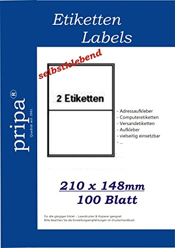 pripa Etikettenformat 210 x 148 - 100 Blatt DIN A4 selbstklebende Etiketten