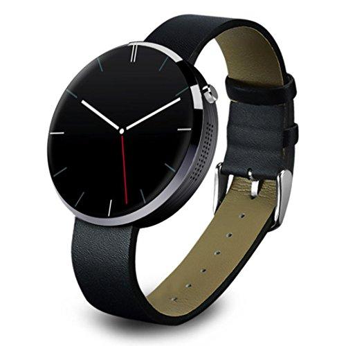 Fulltime® DM360 Heart Rate Monitor Smartwatch Tracker Bluetooth für iOS Android Runde Edelstahl Gehäuse IP53 wasserdicht mit echtem Leder Armband