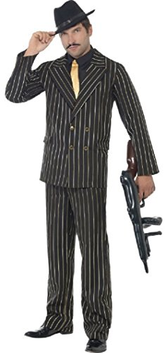 Erwachsene Herren Schwarz & Gold Nadelstreifen 1920s Jahre Gangster Bugsy Malone Great Gatsby Kostüm Kleid Outfit M-XL - Schwarz, Medium / 38