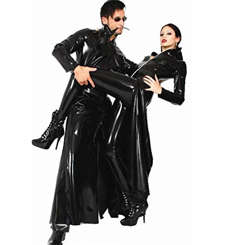 S-XL Männer Frauen JackeSchwarz Cool Wetlook PVC Leder Catsuit Mantel Gothic Punk Langen Mantel Die Matrix Cosplay Outfit Club Bühnenkostüm,Black,M
