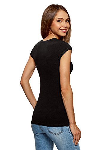 oodji Ultra Damen T-Shirt Basic (3er-Pack) Schwarz (2900N)
