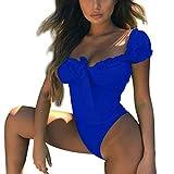 iYmitz Strandmode Damen Bikinis Sets Zweiteilige Badeanzüge Frauen Bauchkontrolle Badeanzüge Badebekleidung Strandkleidung(Blau,EU-36/CN-M)