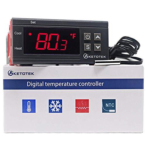 KETOTEK Digital Temperaturregler Thermometer Heizung 220V Aquarium LED Anzeige Sensor für Heim-PC-Reptilien Sämling Keimung Brühen Fermentation Heizung (220V)