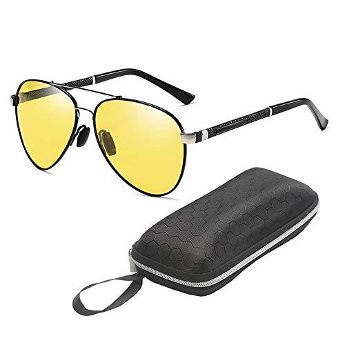 QYF Polarisierte Sport-Sonnenbrille, Tag- und Nachtfahrbrille Blendschutz UV400 Augenschutz Metallrahmen Verstärkte Scharniere und Klarheitsgläser,Black