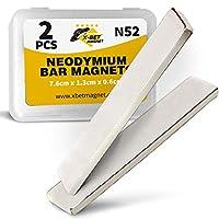 "Neodymium Bar Magnets - Rare Earth Magnets Super Strong - N45 Grade (Ndfeb) - 7.6cm x 1.3cm x 0.6cm (3"" x 1/2"" x 1/4"") - 2 Block Magnets in Box"