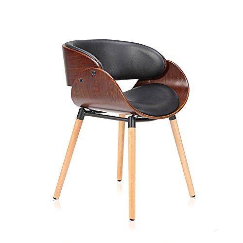 Makika Design Stuhl Retro Bürostuhl Vintage Hocker Kunstleder Wohnzimmerstuhl Esszimmerstuhl Küchenstuhl Sessel Holzbeine - Belle in Schwarz/Braun -