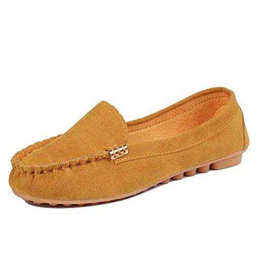 Longra Donna Una moda scarpe pedale signora Giallo