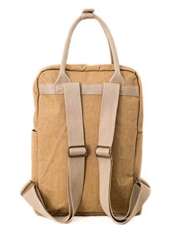 PAPERO ® aus Kraft-Papier | 2 in 1 Handtaschen Rucksack | robust, wasserfest ultraminimalistisch -Lynx- ✅ Vegan nachhaltig ♻ Damen Kleiner Backpack Platz für Laptop| FSC® Zertifiziert |, Urban Style - 3