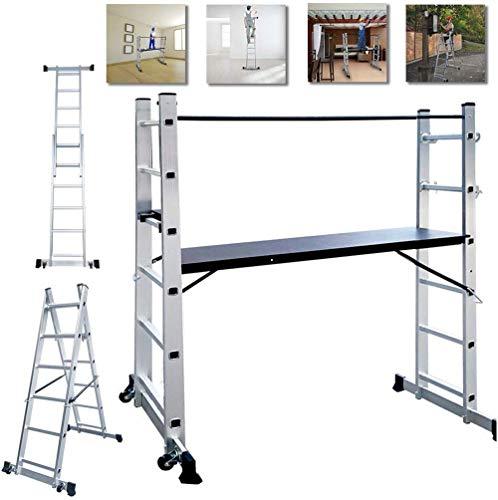 NAIZY estructura de aluminio, escalera de aluminio, escalera plegable, soporta hasta 150 kg, revestimiento...