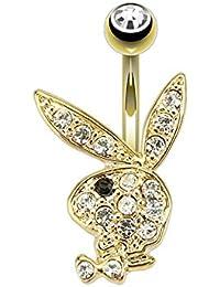 Gekko body jewellery Piercing chapado en oro para ombligo de Playboy con negro y transparente CZ Gems