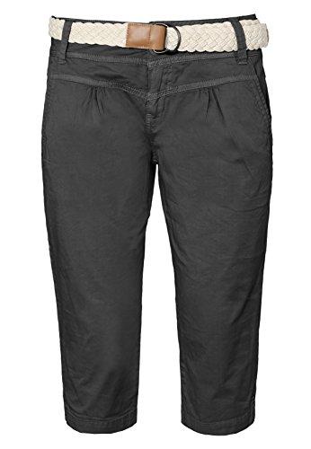 Fresh Made Damen Capri im Chino Design mit Flecht-Gürtel   Elegante kurze Hose ideal für den Sommer dark-grey S