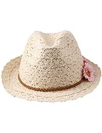 Dantiya Femme Chapeau de Soleil Panama de Coton avec Deux Fleurs Été Élégant