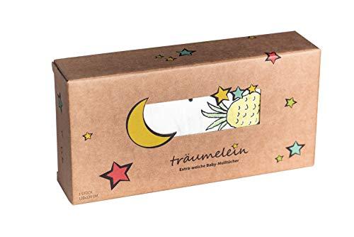 träumelein | Extraweiche und saugstarke Bambus-Mullwindel/Spucktuch | Yellow Pineapple | 120x120cm | 100% Bambus | 100% Liebe