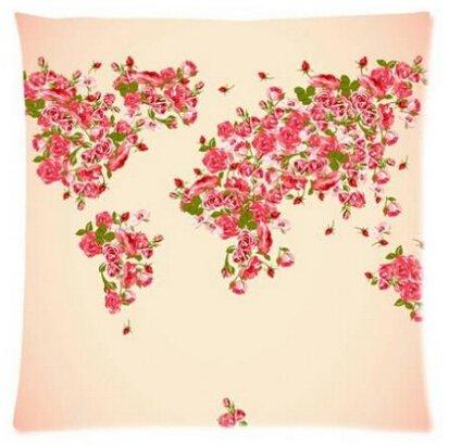 Carte du monde uk-jewelry Custom Beauty Rose Roses joli Couvre-lit Protection d'oreillers personnalisé zippée carrée Taie d'oreiller Double Côtés 45,7x 45,7cm